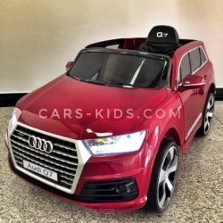 Электромобиль Audi Q7 Quattro Lux красный (колеса резина, кресло кожа, пульт, музыка)